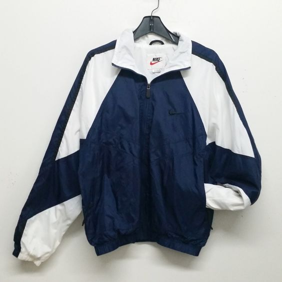 "retro nike windbreaker - built in hood - two pockets - colors : white, lime green and violet Men Size XL chest 52"" length 28.5"" sleeve 20"" L Train Vintage : Vintage Clothing NYC"