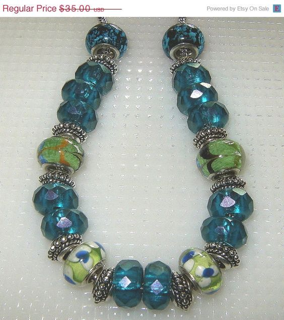 ON SALE Lampwork and Czech Glass Necklace by BevmarDesigns on Etsy, $30.00
