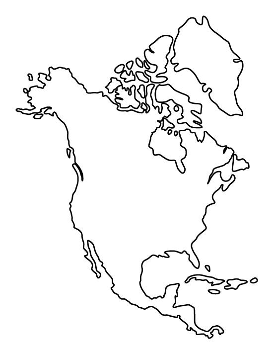 North America pattern Use the printable outline for crafts creating stencil