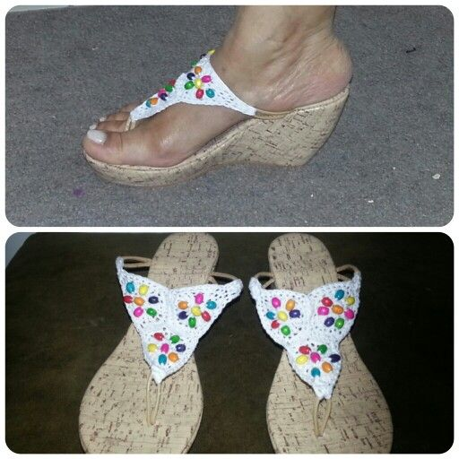 Sandalias tejidas con piedras