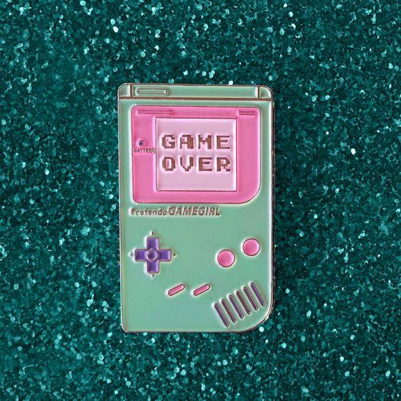"1.5"" soft enamel lapel pin Cute pastel ""GameGirl"" handheld device ♥ limited to…"