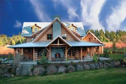 log homes with wrap around porches   ing Appalachian-Style log cabin in Washington State. Featured in Log ...