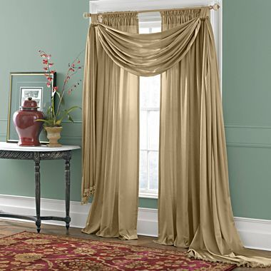 Scarf valance big scarves and valances on pinterest for Jcpenney living room curtains