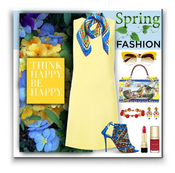 """Spring Yellow Dress"" by helenehrenhofer ❤ liked on Polyvore featuring Dolce&Gabbana, Aquazzura, dolceandgabbana and springdress"