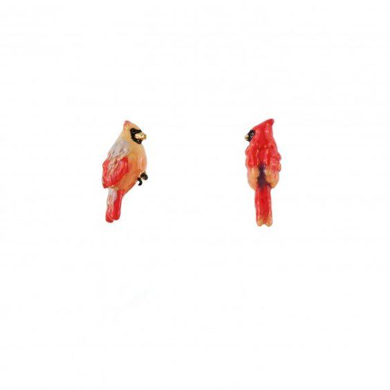 Boucles d'oreilles moineau et cardinal rouge