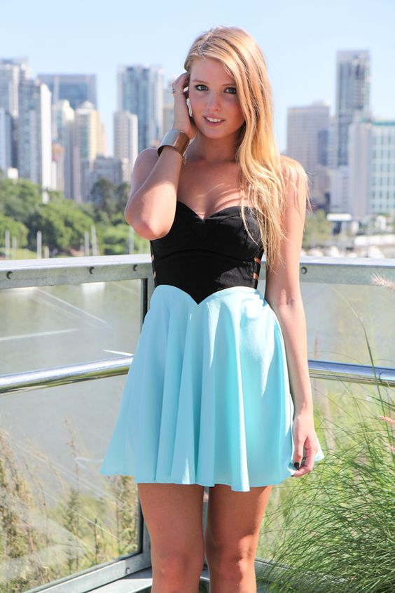 Blue &amp Black Strapless Flowy Dress with Cutout Side Detail ...