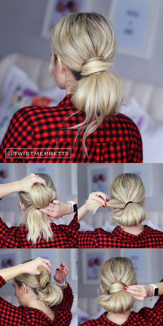 fluffy twisted low bun unwashed hair dirty hairstyles: