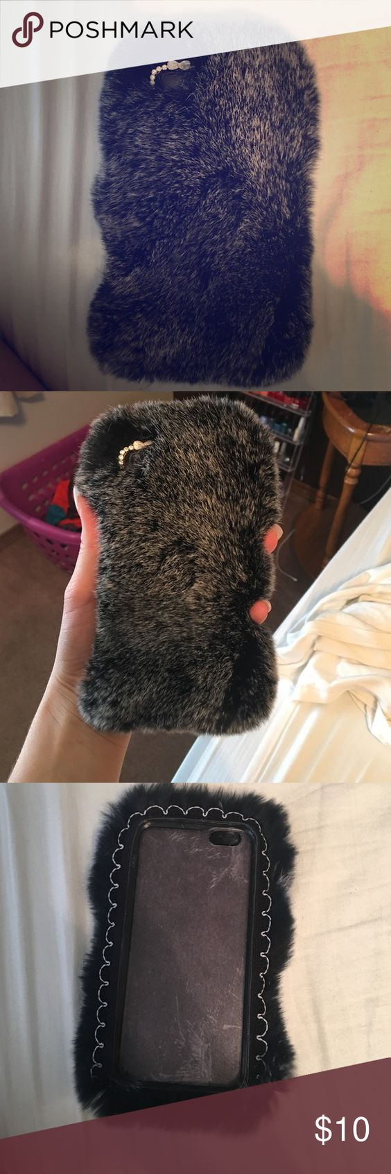 iPhone 6s fuzzy case!:) Super soft...I have never used it once! I got the 6 plus so I have no use for it. Dark grey with bows and diamonds around camera opening. Accessories Phone Cases