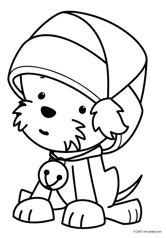 Cute Dog For Christmas Coloring Page For Preschoolers Puppy Coloring Pages Printable Christmas Coloring Pages Cute Coloring Pages