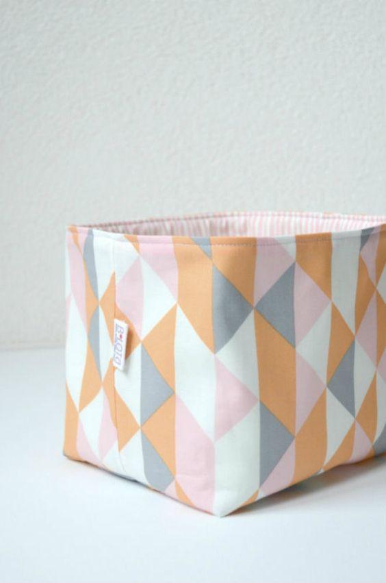 Organic Fabric Basket - Modern Geometric in Soft Gray, Orange, Pink and White. $26.00, via Etsy.