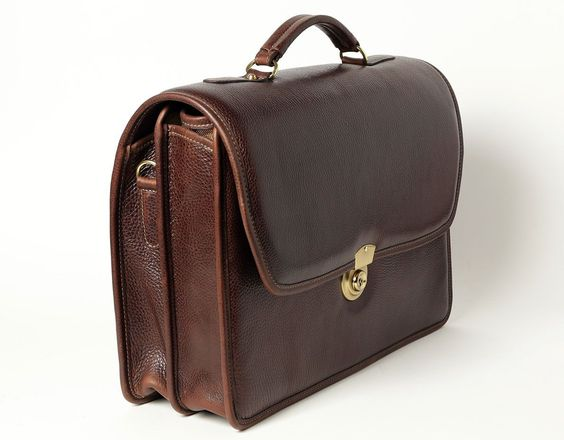 Double Compartment Briefcase - Brown - In stock - Side View