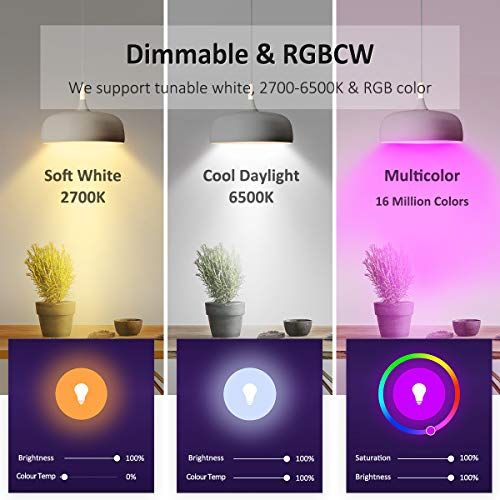 Novostella Led Lights Bulbs Rgb Color Changing Warm White Daylight Dimmable For Smart Lamps Work With Alexa Google Home 6 Led Light Bulb Works With Alexa Bulb