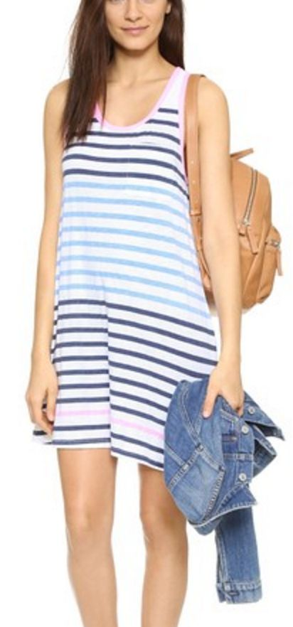 A-Symmetrical Sporty Tank Dress in Pink and Blue Stripe