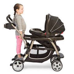 Meet the most versatile baby stroller! With 12 riding options (a great feature among strollers!), from infant to youth, your kids will love getting out and about. The Ready2Grow Click Connect Double Stroller, Gotham, accepts TWO Graco SnugRide Click Connect Infant Car Seats, America's #1 selling infant car seats, has a standing platform and bench seat for your older child, and a removable Face Time rear seat for some bonding time with baby!