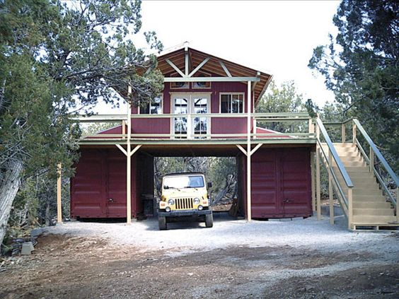 Barn made from conex units bug out pinterest house for Conex container homes