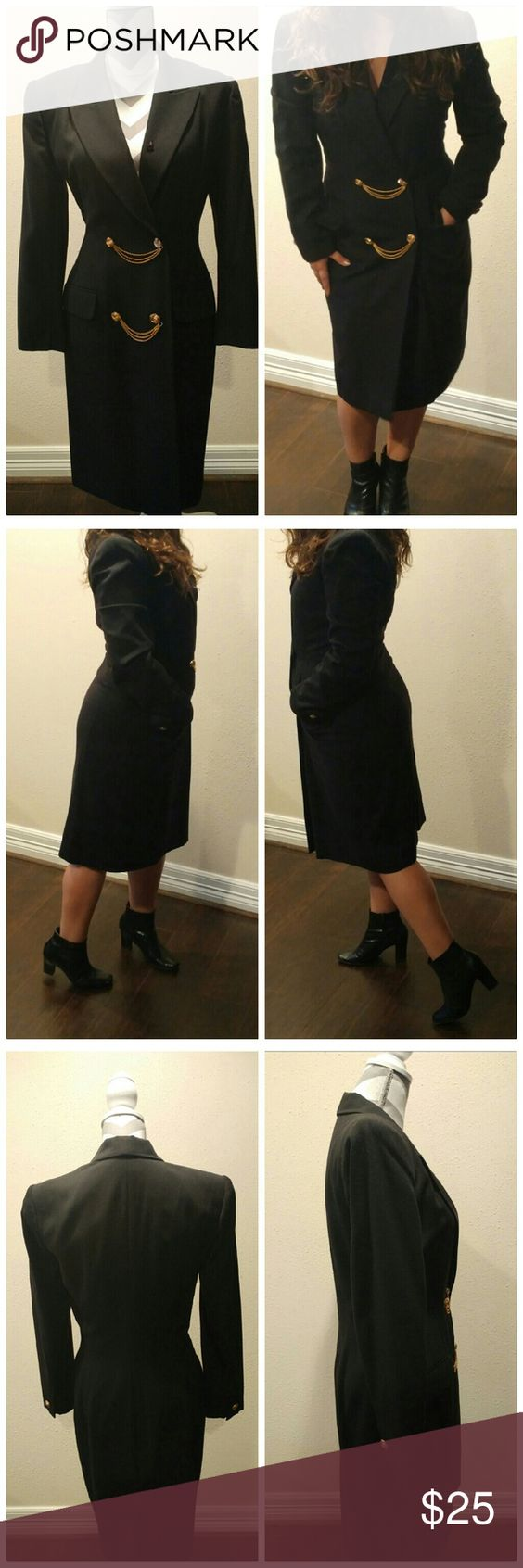 """Dress with breasted pockets/long jacket Vintage piece with doubled breasted pockets, brass hardware that adds a wow factor. Shoulder pads, fitted, no stretch. Fully lined. Size 8. I'm modeling the piece and I'm 5'1"""" for reference. I typically wear 8-10. This dress can also be worn as a long jacket...one more reason to add this piece to your wardrobe! Measurements shoulder to shoulder approx 16"""", waist 32"""", hips 39"""". Kasper Dresses Long Sleeve"""