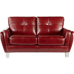 picture of Cindy Crawford Home Palermo Red Leather Loveseat from Leather Loveseats Furniture