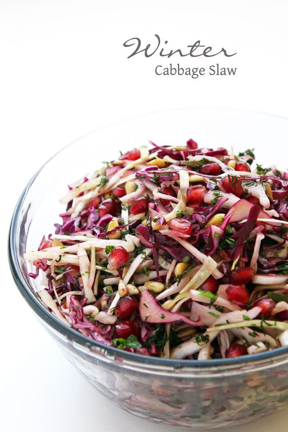 This bright and colorful salad with red + green cabbage and ...