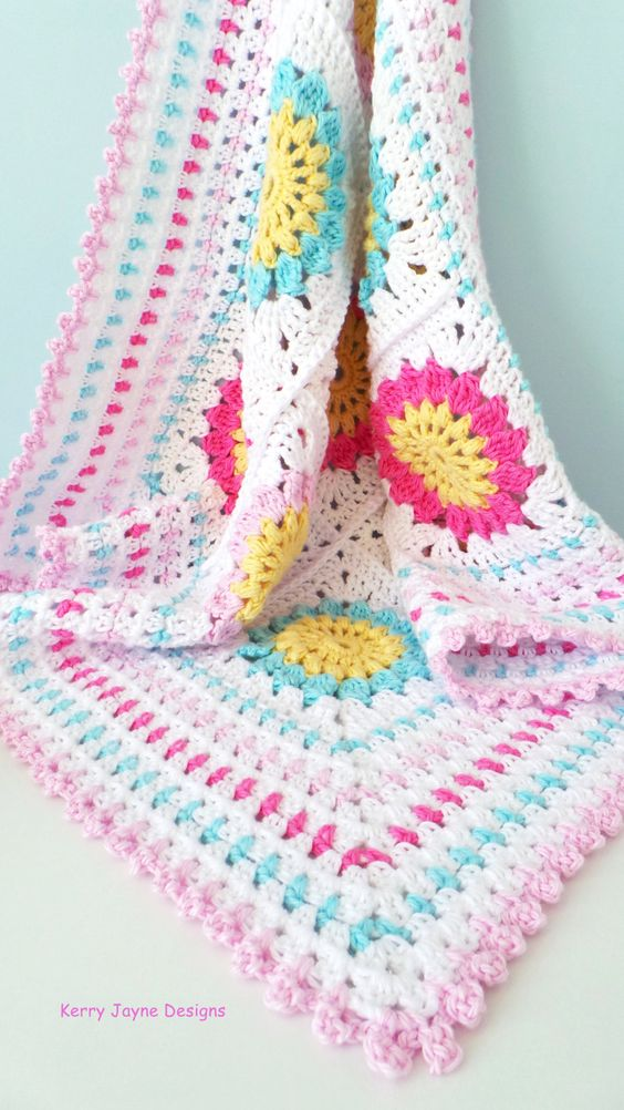 Granny square baby blanket pattern, Cotton yarn blanket ...