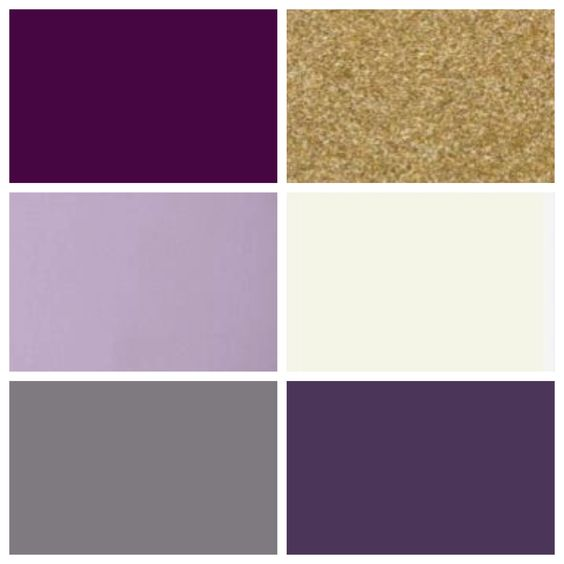 C&J wedding color palette: plum, lilac, gray, gold, cream, eggplant