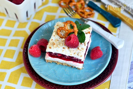 Raspberry Pretzel Dessert Salad | MomOnTimeout.com. I've done this with strawberries, can't wait to try it with raspberries.