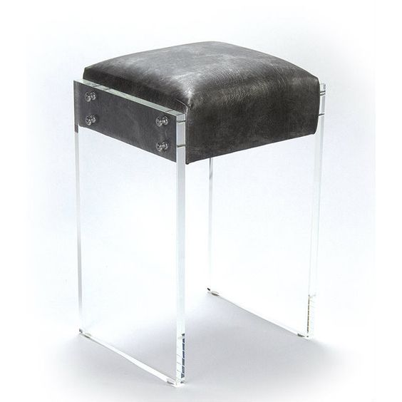 Acrylic and Dark Croc Counter Stool