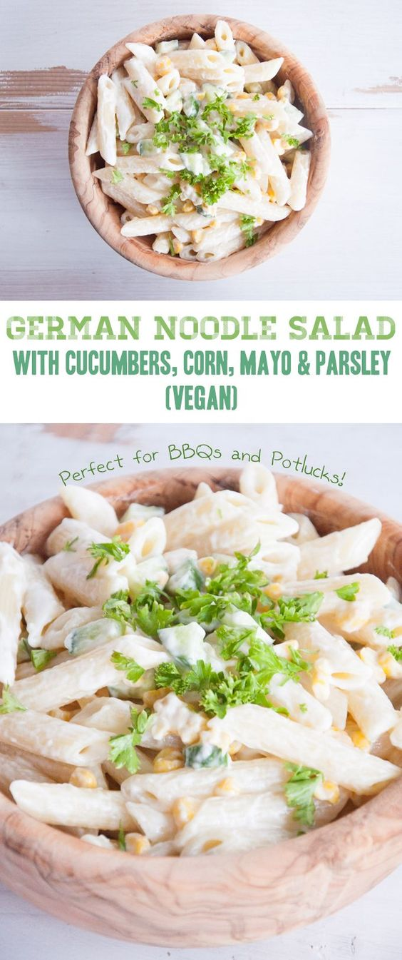 Vegan German Noodle Salad | Scratch the corn, and I'm IN! | ElephantasticVegan.com