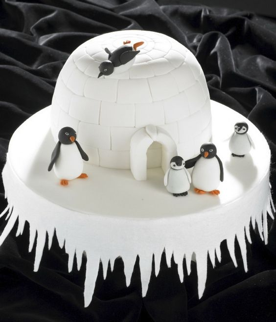 Igloo and penguins Christmas cake                              …