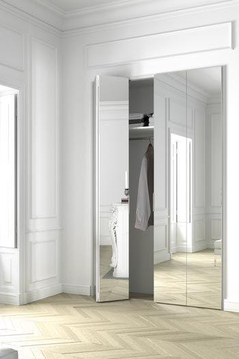 KAZED - portes de placard coulissantes Kontrast Châtaigne et miroir