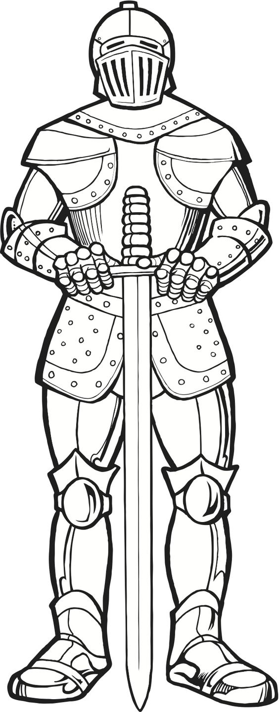Knight in armor coloring page dessins gar ons - Dessin armure ...