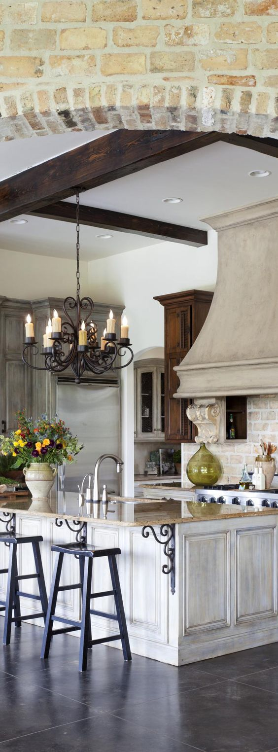 French Country Kitchen (I would change the light fixture but love everything else!) ~ and looks like a butler's pantry off the kitchen...which I love!