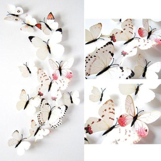 12pcs Sticker Art Design Decal Wall Stickers Home Decorations 3D Butterfly A1 #New