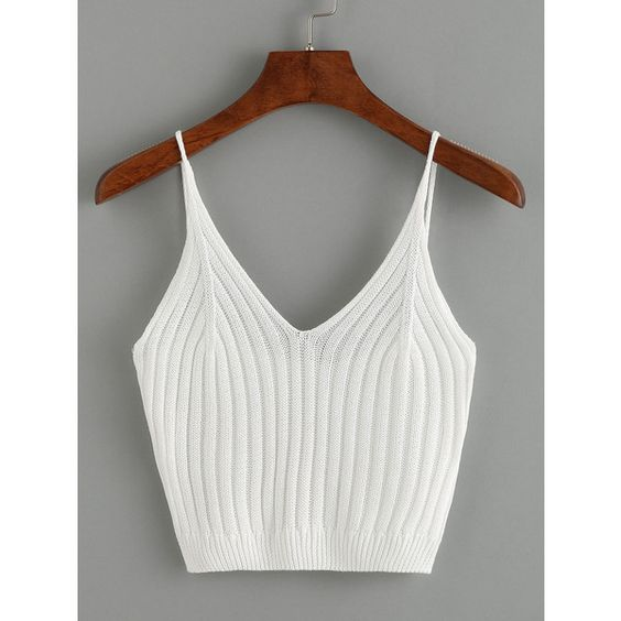 SheIn(sheinside) Ribbed Knit Crop Cami Top - White ($8.99) ❤ liked on Polyvore featuring tops, white cami, white spaghetti strap tank top, white crop top, cropped tops and white camisole