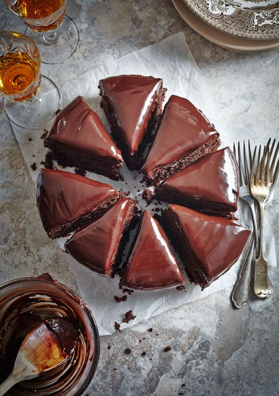 Simple Chocolate Beetroot Cake - can substitute low fat natural yoghurt instead of the cream for the ganache