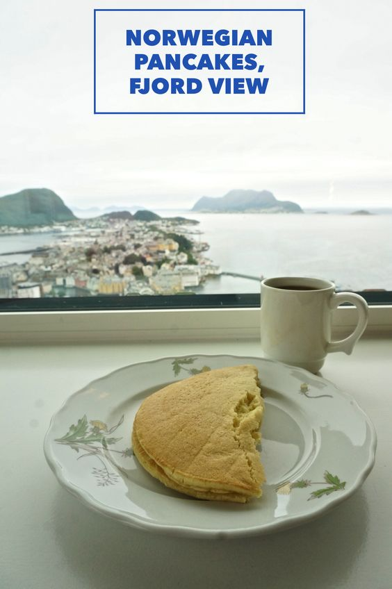 I visited this cafe at the lookout in Alesund, Norway and sampled delicious Norwegian pancakes with a view of the fjords. I asked but they wouldn't divulge their recipe.