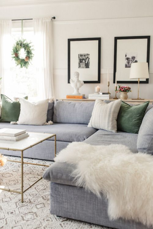Large Grey Sectional Modern Holiday Color Palette Light And Bright Living Room Inspiration Living Room Grey Living Room Inspiration Farm House Living Room