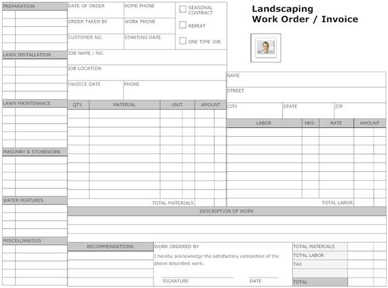 Example Image Landscaping Work Order Form Small Business Owner - work order form