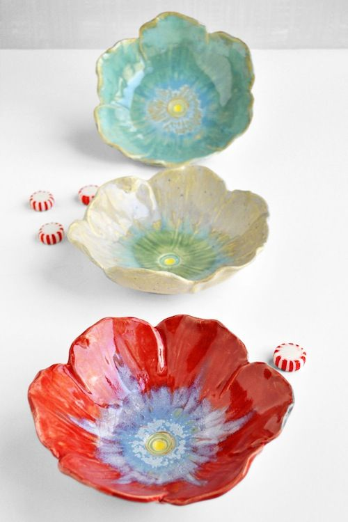 lee wolfe pottery poppy bowls sugar spice
