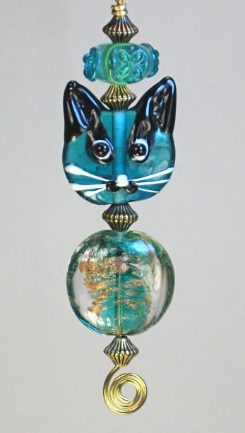Teal Blue Cat Ceiling Fan Pull Teal cat fan pull
