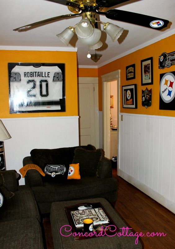 Pittsburgh Steelers Man Cave Decor : Painted ceiling fans football and ceilings on