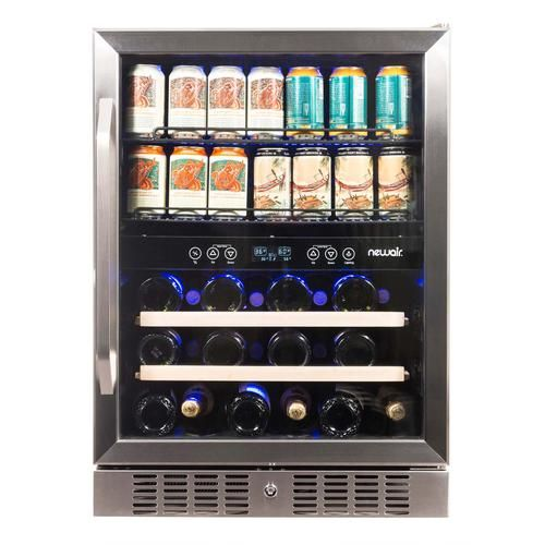 Newair 24 Built In Dual Zone 20 Bottle And 70 Can Wine And