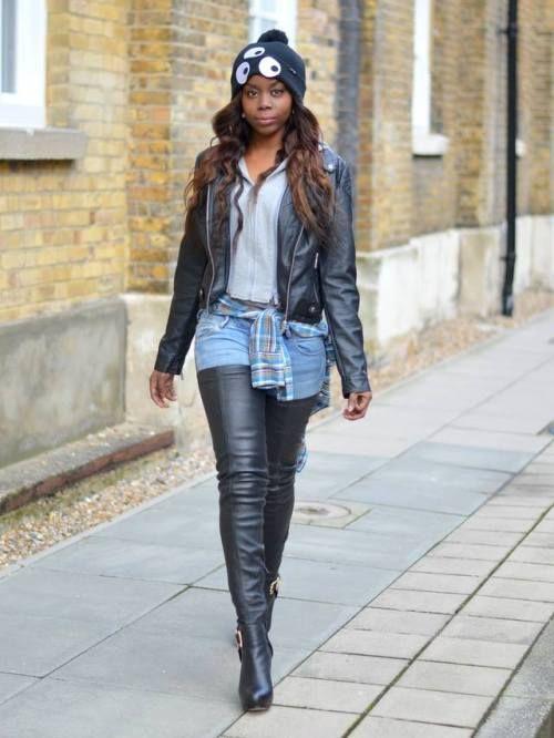Black girl wearing black leather jacket and black leather thigh high boots. | Crotch boots, Leather thigh high boots, Wearing black