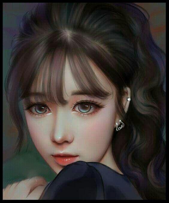 Digital Painting Portrait Ilustrasi Kecantikan Lukisan Wajah Gadis Fantasi