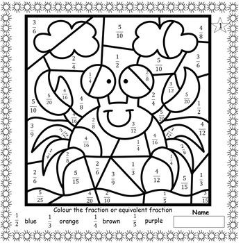 Equivalent Fractions Colour By Code Maths Colouring Sheets Math Coloring Addition And Subtraction