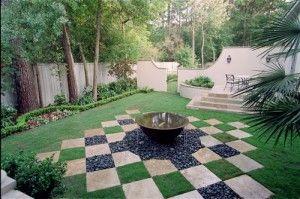 Checkerboard landscape firepit area firewood storage for Checkerboard garden designs