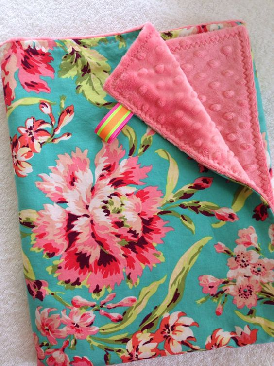Soft Minky & Cotton Baby Girl Blanket~Nursing Cover~Amy Butler~Bliss Bouquet~Coral Pink~Lime Green~Pink~Turquoise on Etsy, $35.00