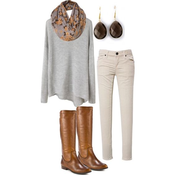 Fall/Winter...white corduroy skinny jeans with long sweater, scarf & boots.  Love with white jeans as you can keep changing the color of sweater & scarf for new look!