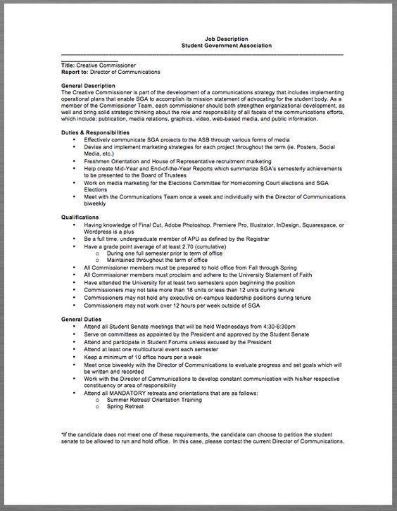 Student Government Association Job Description Job Description - director job description