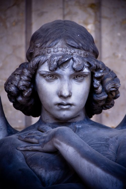 Close up of 'The Angel' by Giulio Monteverde, Giulio Monteverde family grave, Verano Monumental Cemetery, Rome, Italy