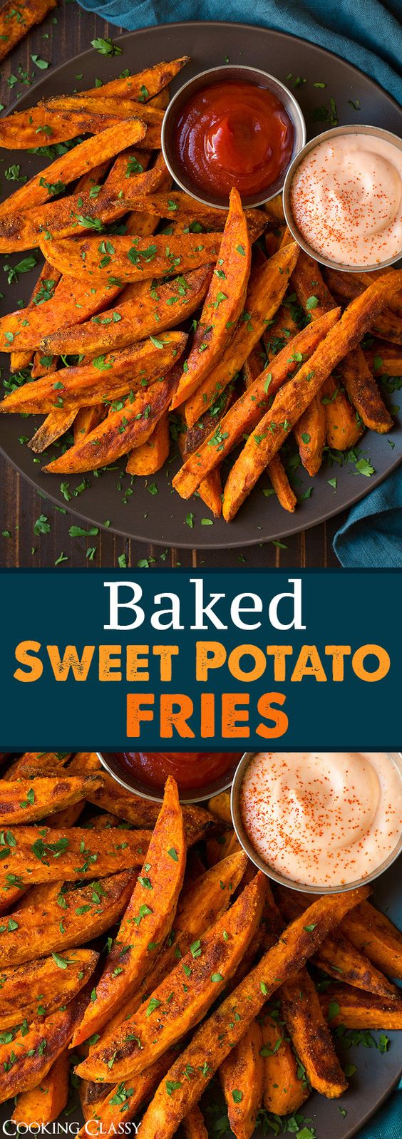 Baked Sweet Potato Fries - One of the best dinner sides! The fry sauce is a must.: